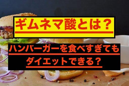 ハンバーガーに含まれる糖質をカットするギムネマ酸
